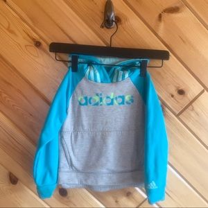 Adidas Hooded Sweatshirt Blue Gray 3t Girl Toddler